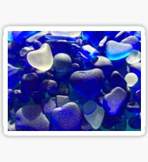 MULTI BLUE SEA GLASS WITH HEARTS Sticker