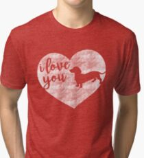 I Love You (Dachshund Silhouette) Tri-blend T-Shirt