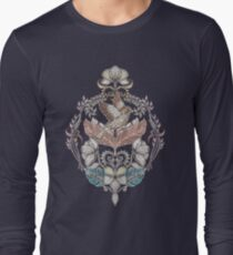 Woodland Birds - hand drawn vintage illustration pattern in neutral colors Long Sleeve T-Shirt