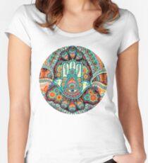 Camiseta entallada de cuello ancho Mano de Hamsa