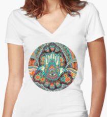 Hamsa Hand Tailliertes T-Shirt mit V-Ausschnitt
