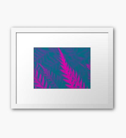 Nature Pattern # 2 - Fern (Blue Pink) Framed Print