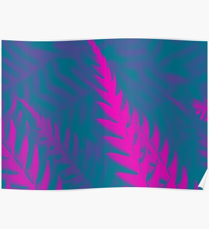 Nature Pattern # 2 - Fern (Blue Pink) Poster