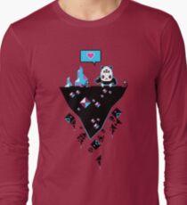 PandaC on Floating Pixel Island Long Sleeve T-Shirt