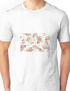 Floral Pink and White Unisex T-Shirt