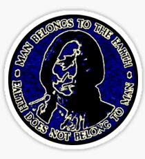Sitting Bull Blue, Earth Does Not Belong To Man Sticker