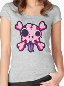 Skull Lick Pink Women's Fitted Scoop T-Shirt