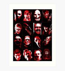 Horror Movie Icons Vector Art Art Print