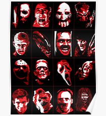 Horror Movie Icons Vector Art Poster