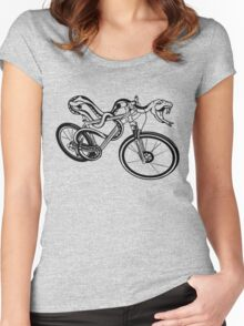Snake Riding A Mountain Bike Women's Fitted Scoop T-Shirt