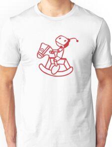 robot riding on rocking horse Unisex T-Shirt