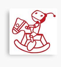 robot riding on rocking horse Canvas Print