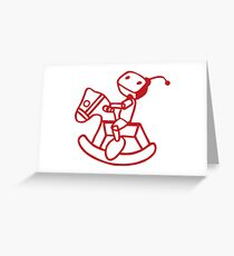robot riding on rocking horse Greeting Card
