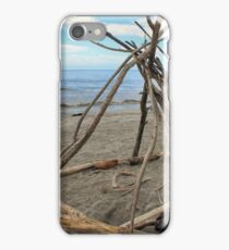 Driftwood sculpture at Ohope Beach iPhone Case/Skin
