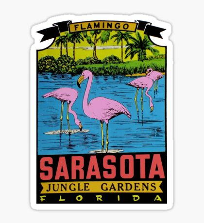 Sarasota Jungle Gardens Florida Vintage Travel Decal Sticker