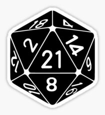21 Sided 21st Birthday D20 Fantasy Gamer Die Sticker