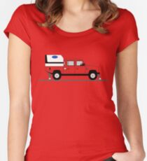 A Graphical Interpretation of the Defender 130 Double Cab High Capacity Pick Up Road Rail Vehicle Women's Fitted Scoop T-Shirt
