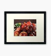 fresh Fruit Basket with grapes, peaches and pomegranate Framed Print
