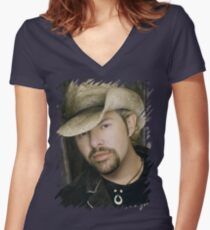 Toby Keith - Celebrity (Oil Paint Art) Women's Fitted V-Neck T-Shirt