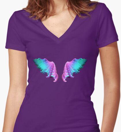 Wings #fractal art Women's Fitted V-Neck T-Shirt