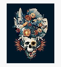 Skull and Flowers Photographic Print
