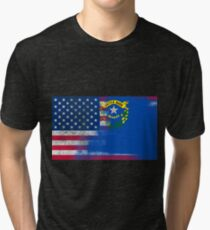 Nevada American Flag Fusion Tri-blend T-Shirt