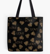 Valentines day gold seamless pattern with stylish heart and text. Gold trendy glitter print on black background Tote Bag