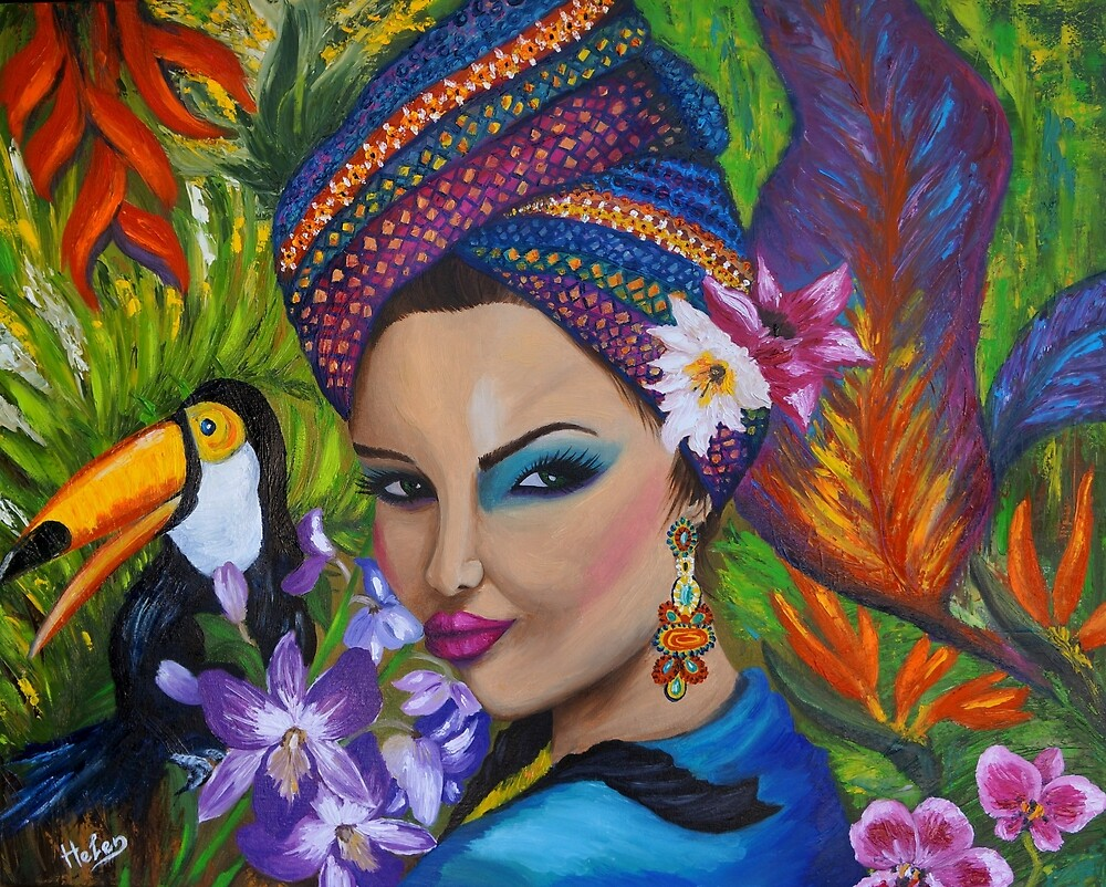 Exotic woman in tropical garden by Helen Bellart