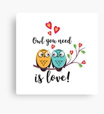 vector love couple owls with hearts  Canvas Print