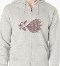 Fish of hearts  (original sold) Zipped Hoodie