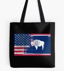 Wyoming American Flag Fusion Tote Bag
