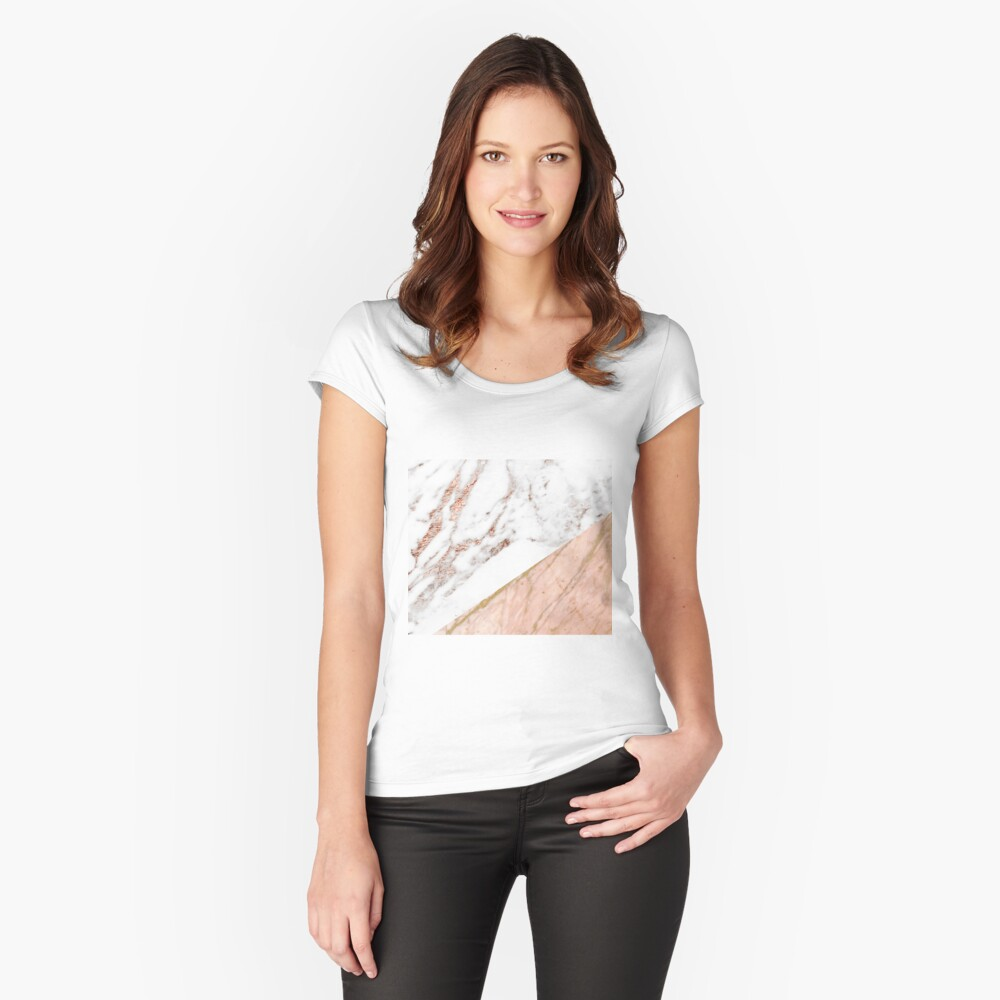 Rose gold marble blended Fitted Scoop T-Shirt