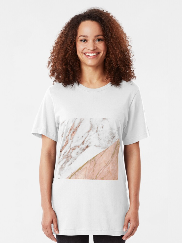Alternate view of Rose gold marble blended Slim Fit T-Shirt