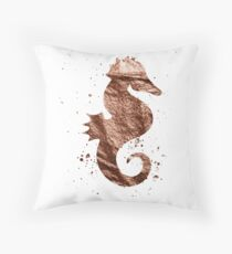Rose gold foil seahorse Throw Pillow