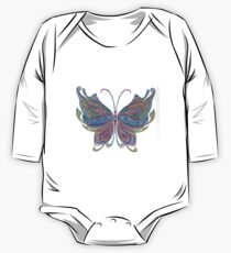 Hand-Colored Butterfly Abstract Design One Piece - Long Sleeve