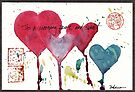 """""""Tis a Morning Pure and Sweet""""  watercolor valentine hearts painting by Rebecca Rees"""
