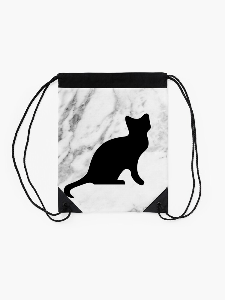 Alternate view of Cat on marble Drawstring Bag