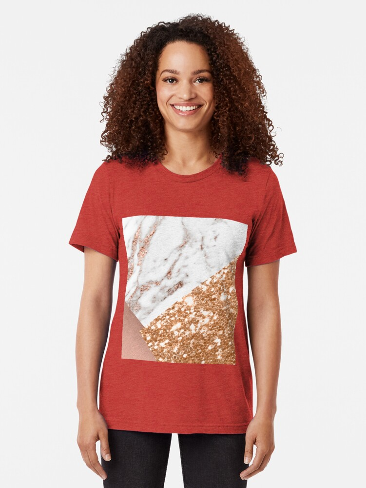 Vista alternativa de Camiseta de tejido mixto Oro rosa en capas
