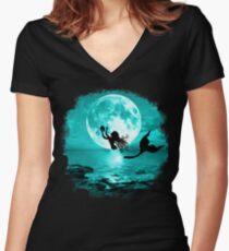Moonlight Mermaid - Turquoise Women's Fitted V-Neck T-Shirt