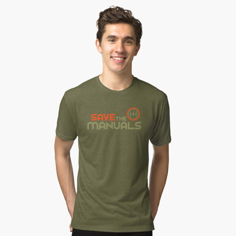 Save The Manuals (4) Tri-blend T-Shirt Front