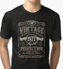 Camiseta de tejido mixto Made In 1977 Birthday Gift Idea