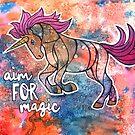 Aim for Magic. Unicorn Watercolor Illustration by mellierosetest