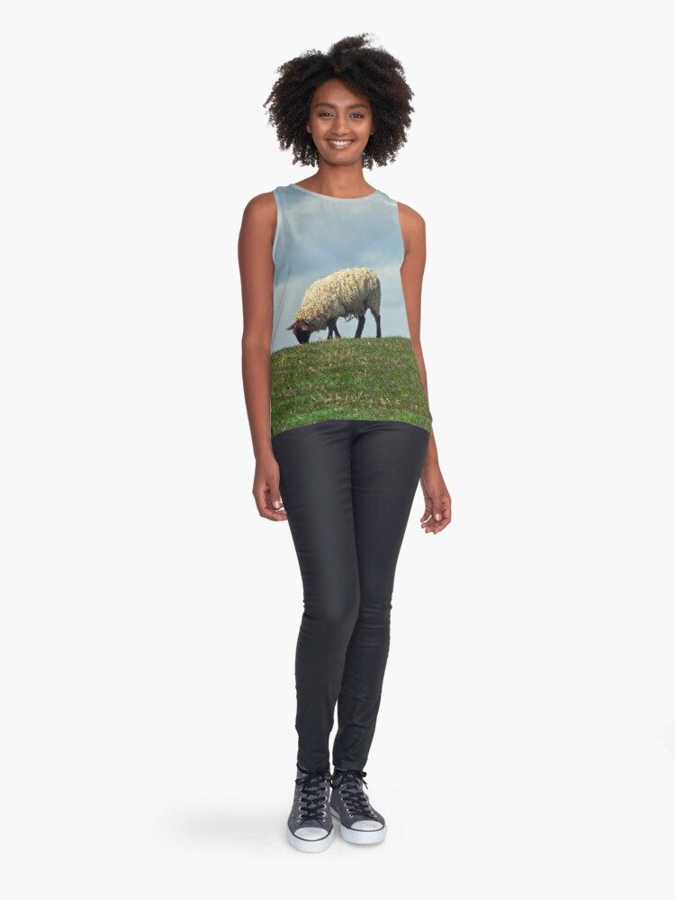 Alternate view of Sheep on the Hill Sleeveless Top