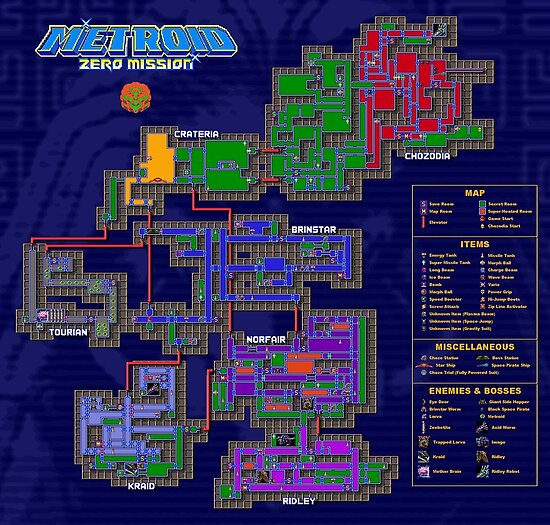 Metroid Zero Mission Map Posters by Punkinnonstop Redbubble