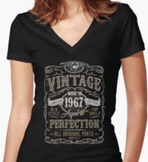 Made In 1967 Birthday Gift Idea Women's Fitted V-Neck T-Shirt