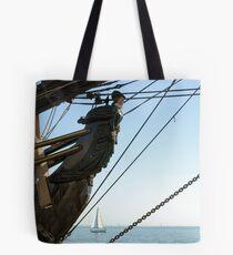 HMS Bounty figurehead with sailboat Tote Bag