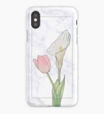 Marble and watercolor flowers iPhone Case/Skin