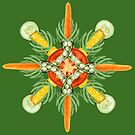 Bean-Carrot-Corn Mandala-deep green by BetsyRiley