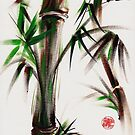 MOTU - Sumie mixed media bamboo painting by Rebecca Rees