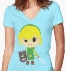 Chibi Toon Link Women's Fitted V-Neck T-Shirt